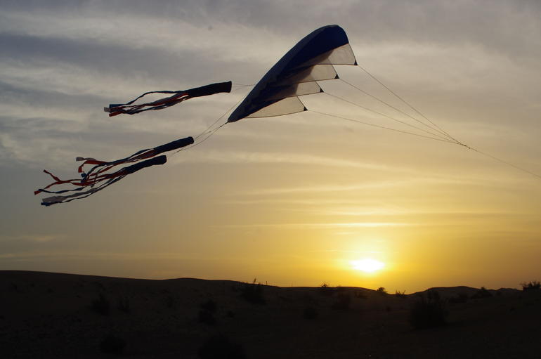 Kite Flying at Sunset - Dubai