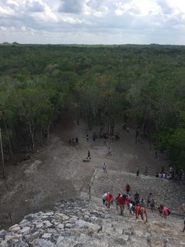 This is on top of the pyramid at Coba Ruins , Connie - May 2017