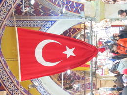 A flag at the Grand Bazaar. Turkish national symbols are obiquitous. , Tanya S - January 2014