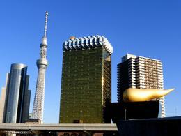 Tokyo Tower, beer mug shaped Asahi HQ, Asahi Flamme D'or , Panda - November 2013