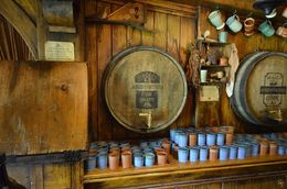 The mugs of ale waiting for tourist to sample. , Glen K - March 2015