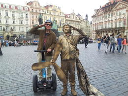 I was wandering the center of Prague downtown when the Man with the Flying machine wanted to take a picture with us!! , Dubi - April 2013