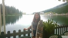 Lunching right in front of the lake.. the view filled me up more than the trout i had. : , Maria Antonia S - August 2015