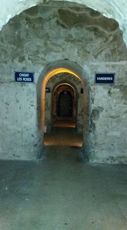 Looking down a vast hallway of the Mumm cellars , Michal O - June 2015
