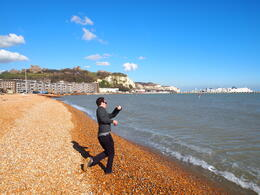 Skipping stones in the English Channel, Rachel - March 2014