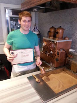 Getting my Turkish coffee certification , Benjamin - May 2014