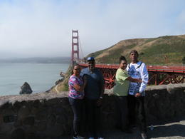 The four of us at Golden Gate Bridge on City Tour , Joyce T - July 2017