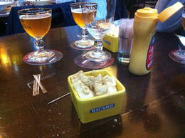 Beer served with fresh gouda cheese, dijon mustard and celery salt , Karen P - January 2013