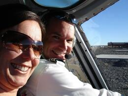 Carla and the pilot while getting ready to fly over the Grand Canyon. The pilot also was the best comedian I have ever heard. He was extremely knowledgeable of the areas that we flew over. - March 2009