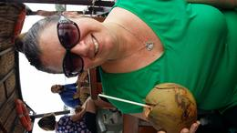 refreshing coconut on the last boat trip , Kerryn L - October 2016