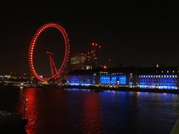 London Eye and the Marriott Hotel County Hall illuminated in blue. , Nana - May 2017