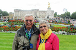 Photo taken by guide in front of Buckingham Palace before entry to Palace , Robert G - August 2017