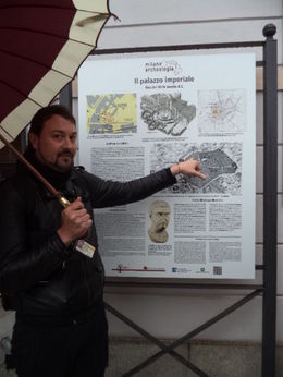 This was our tour guide showing us on a map where the Roman remains were located in the old city. , Thomas M - May 2015