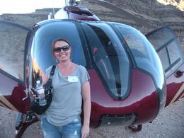 Tracey in front of our helicopter, JennyC - November 2010