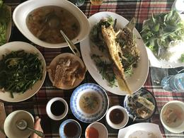 local elephant fish fried for lunch with side dips and dishes , Danielle W - March 2017