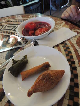 Stuffed vine leaf, Moroccan cigar and red kubbeh soup which was so good , elyse g - December 2017