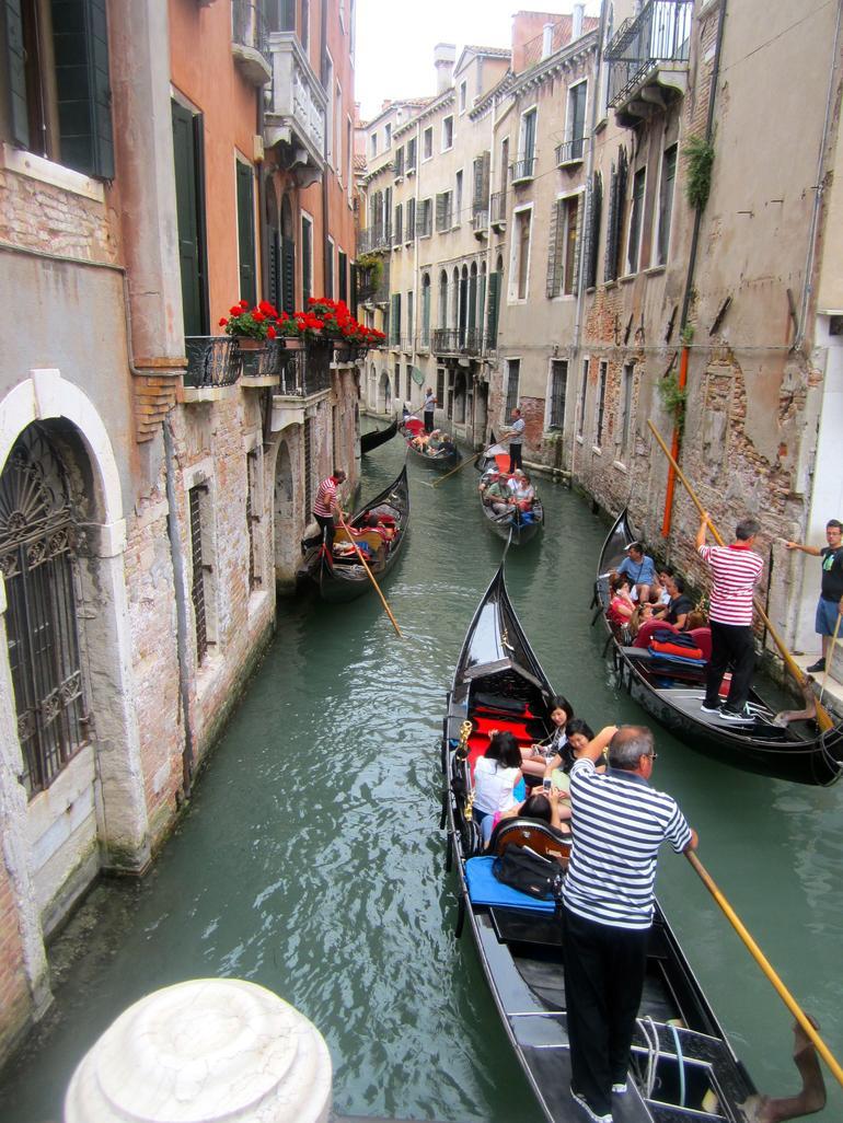 Gondolas on a small canal - Venice