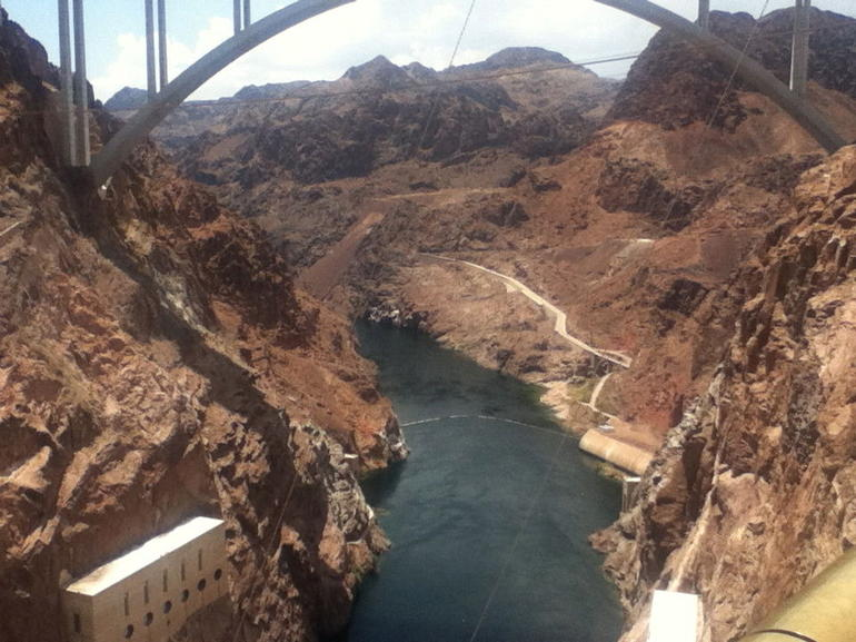 Looking down from the dam bridge - Las Vegas