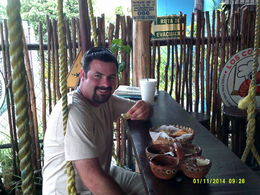 Jonathan and I enjoying fish and shrimp tacos. , Russell D C - June 2015
