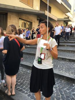 Gathering her flock before going into the Vatican Museums , Julia E - August 2016