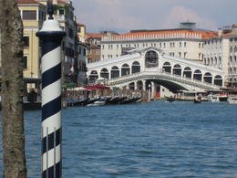 Our water taxi stop coming up to unload by the Rialto Bridge. , Jose - September 2016