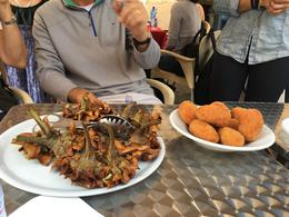 Tasting deep fried artichokes and suppli in the Jewish Ghetto. , Thea R - May 2017