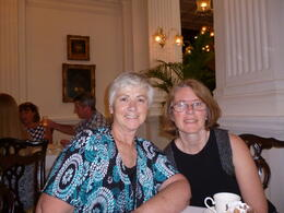 Mum and I getting ready for some delicious high tea. , Rhian - November 2014