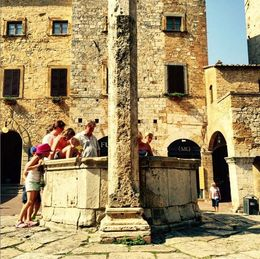 Some people in Piazza of Cisterna in San Gimignano. , Eva L - August 2015