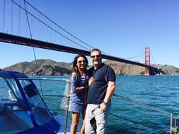 Husband and I enjoying a nice day out on the Bay. Thank you! , Naomi S - October 2014