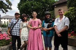 With actress and actor in Wiliam Shakespeare House-, Tiurmina T - July 2010