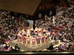 Sumo wrestlers n their ceremonial aprons. - October 2007