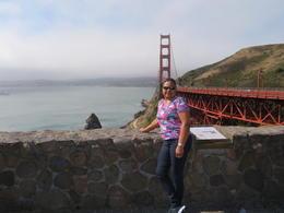 Joyce posing, Golden Gate Bridge behind on City Tour , Joyce T - July 2017
