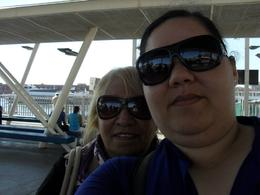, Mum and i waiting at Porto Di Napoli for our ferry to Capri , Roshy - January 2018