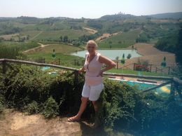 Me with a view of the vineyard in the background , Petra A - July 2015