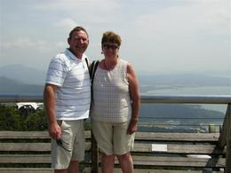Enjoying views from suspension bridge - January 2010