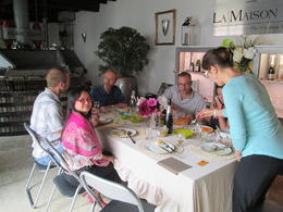 Alexendre Penet's wife hosting our lunch with local food from the farm around the area. , Geoffrey J - August 2014