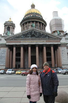 In front of the St Isaac's Cathedral - the 3rd biggest in the world. Our guide's knowledge of history and interesting facts about the sights we saw added a lot of value to our wonderful experience..., Annelise - May 2015