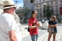 Miguel, our guide, at the starting point Praca dos Restauradores , Barbara P - June 2016