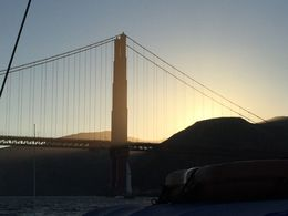 The view of the Golden Gate Bridge with the backdrop of the setting sun. , Dustin H - August 2016