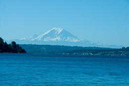 View over Lake Washington with view of Mt Rainier - December 2011