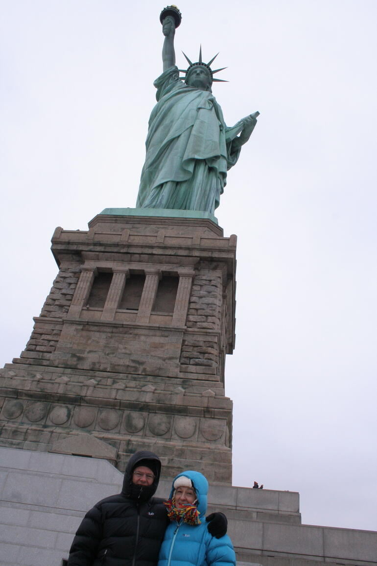 A cold day at the statue of liberty. - New York City