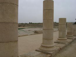 Looking through the replica columns (originals now in Akko) back towards the Caesarea shoreline. , Heidi O - February 2012