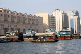 Crossing Dubai Creek on a water taxi on the way to the Gold Souk - August 2011