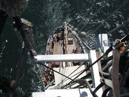 A view of the boat below from the crow's nest , Kumar - January 2015