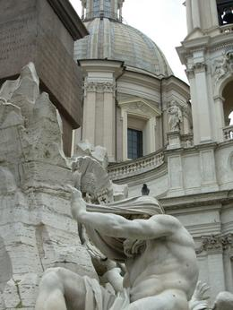 Fountain of the Four Rivers in Piazza Navona, looming in the background is Sant' Agnese in Agone baroque church, Rome, Cheryl N - June 2010