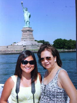 Aboard the Hop On/Off Ferry passing by Lady Liberty. , Jocelyn L - July 2014