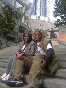 chilling on the steps nearby the musuem , Roddrell H - October 2011
