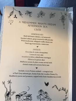 Menu for High Tea at The Swan , Julie W - March 2017
