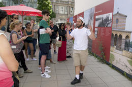 Rick in front of posters depicting Berlin Wall history. , flashieone - June 2014