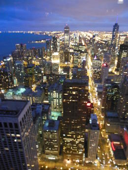 Fabulous view of Chicago at night atop the 96th floor of the Hancock tower , Patricia J G - November 2012